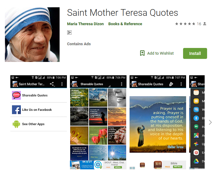 FREE Android App – Saint Mother Teresa Quotes – Download Now ...